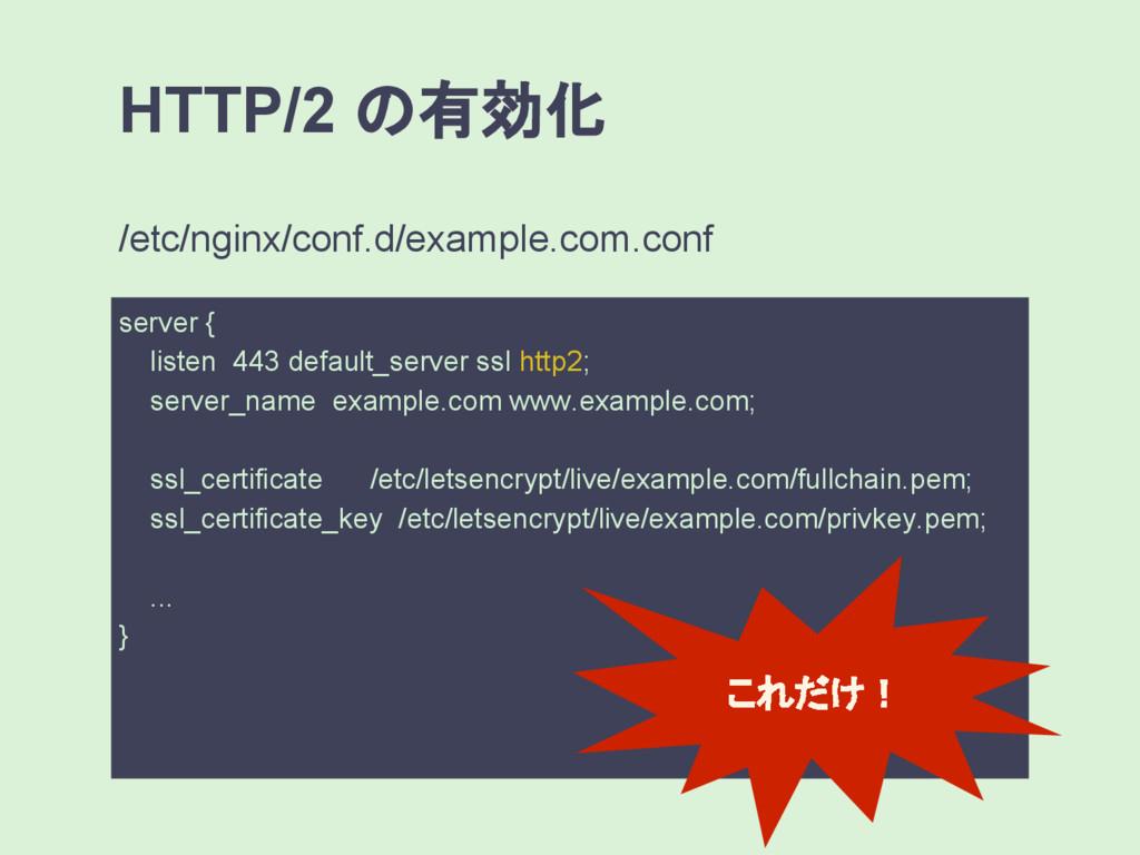 HTTP/2 の有効化 server { listen 443 default_server ...