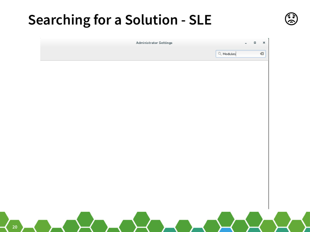 20 Searching for a Solution - SLE