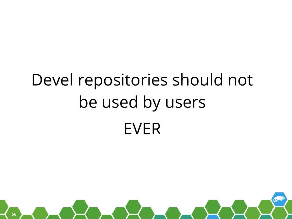 56 Devel repositories should not be used by use...