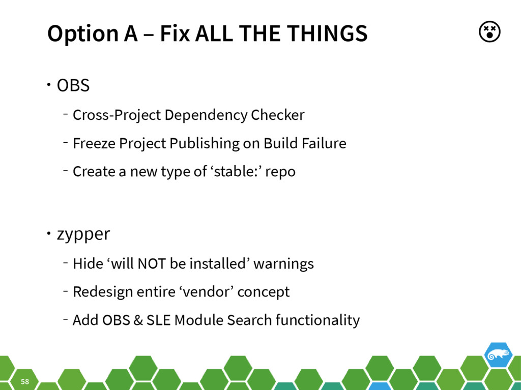 58 Option A – Fix ALL THE THINGS • OBS ‒ Cross-...