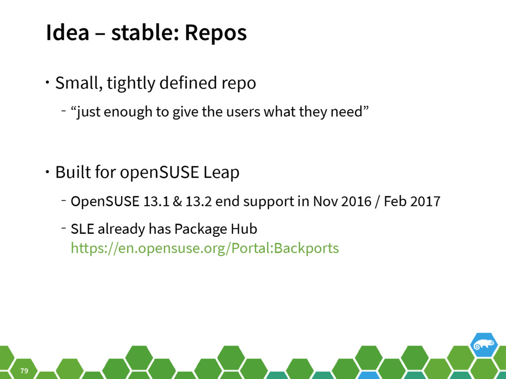 79 Idea – stable: Repos • Small, tightly define...
