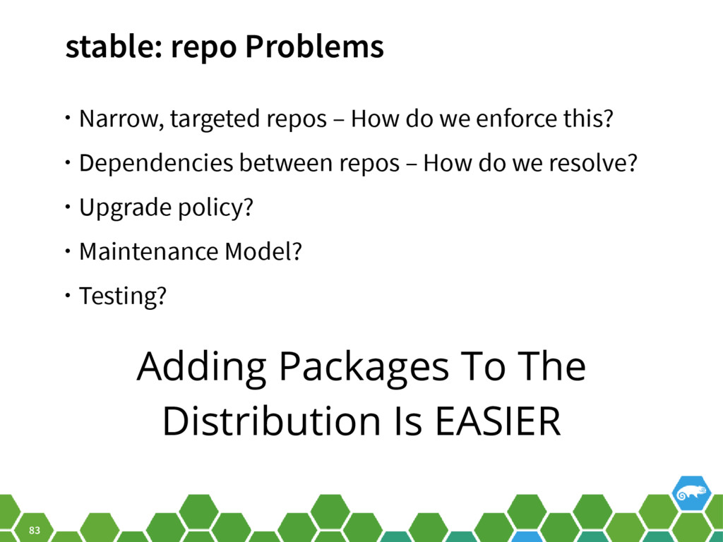 83 stable: repo Problems • Narrow, targeted rep...