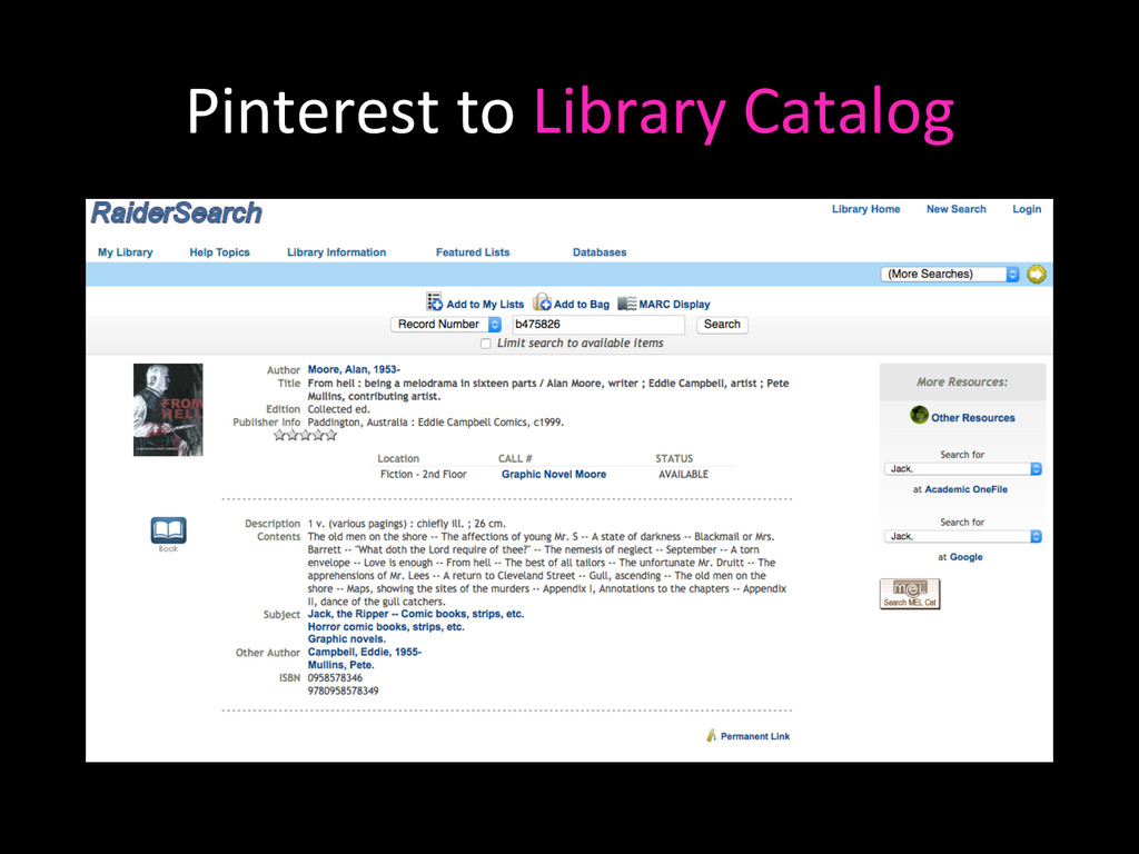 Pinterest to Library Catalog