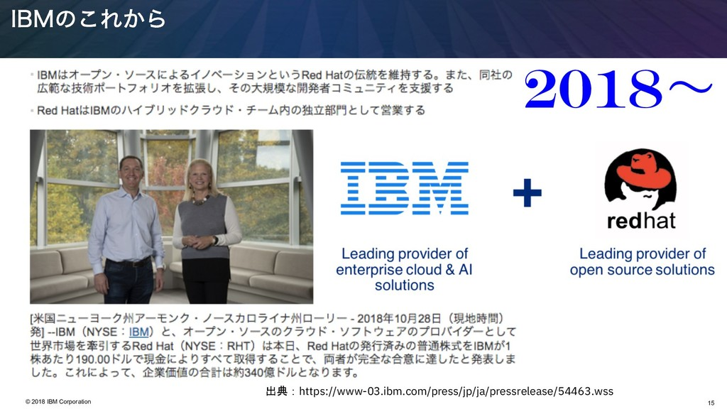 15 © 2018 IBM Corporation *#.ͷ͜Ε͔Β 2018ʙ htt...