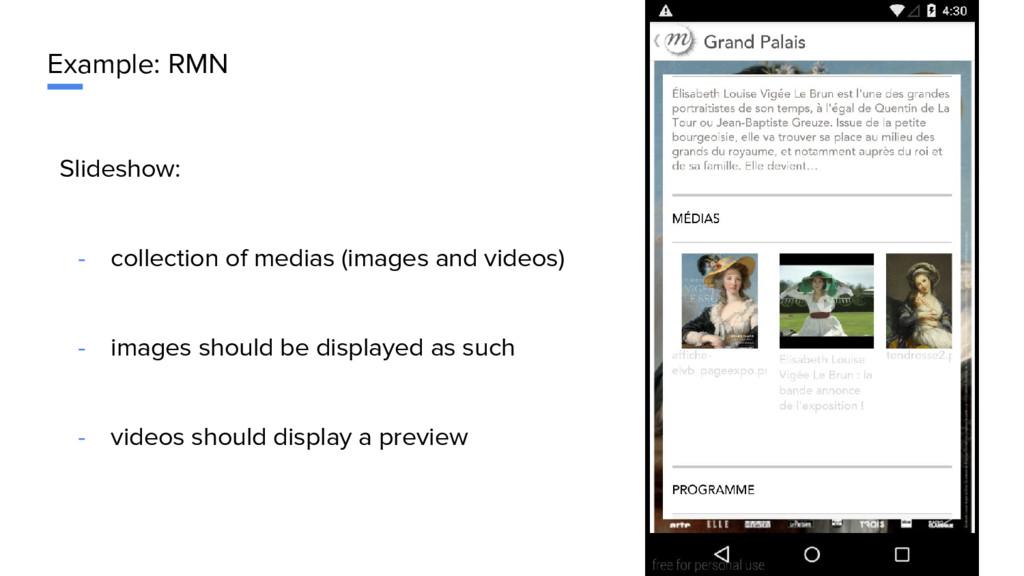 Example: RMN Slideshow: - collection of medias ...