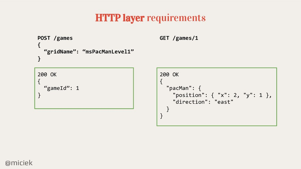"@miciek HTTP layer requirements POST /games { ""..."