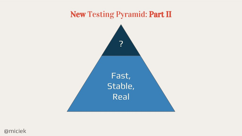 @miciek New Testing Pyramid: Part II ? Fast, St...