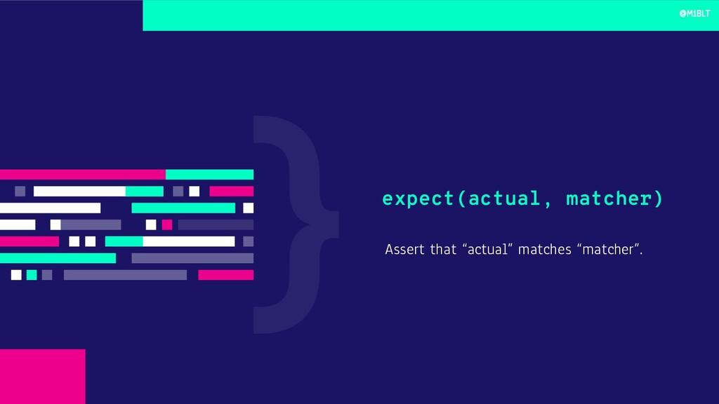 """Assert that """"actual"""" matches """"matcher"""". expect(..."""