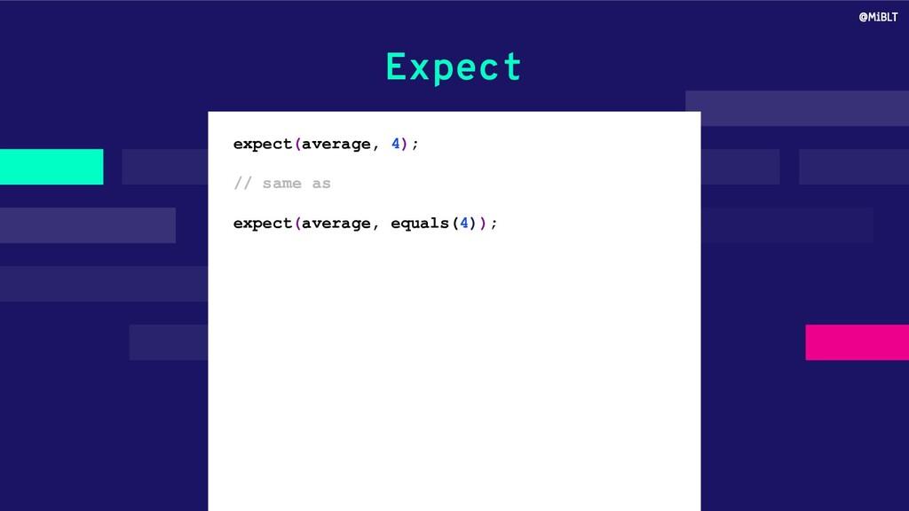 Expect expect(average, 4); // same as expect(av...