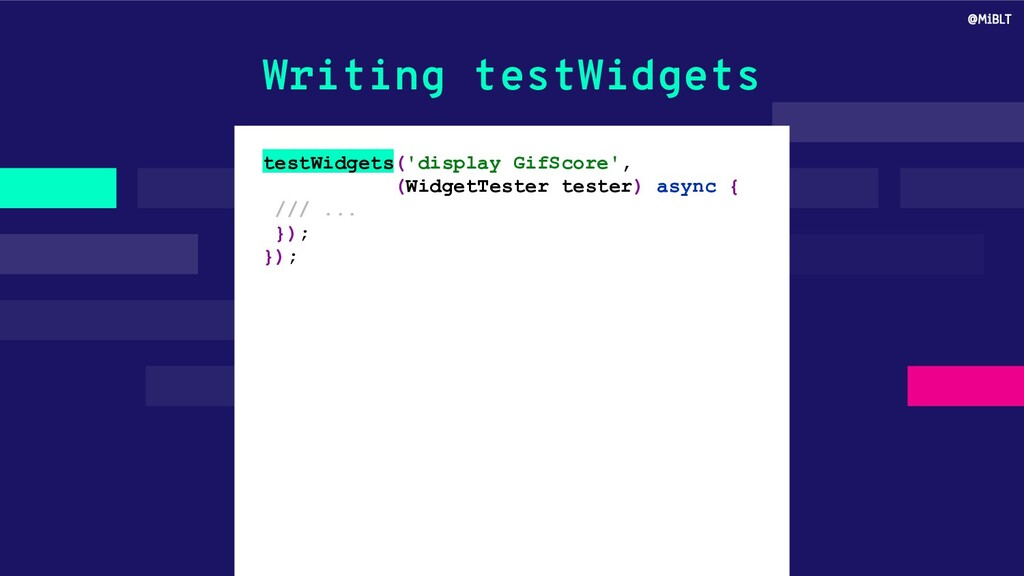 Writing testWidgets testWidgets('display GifSco...