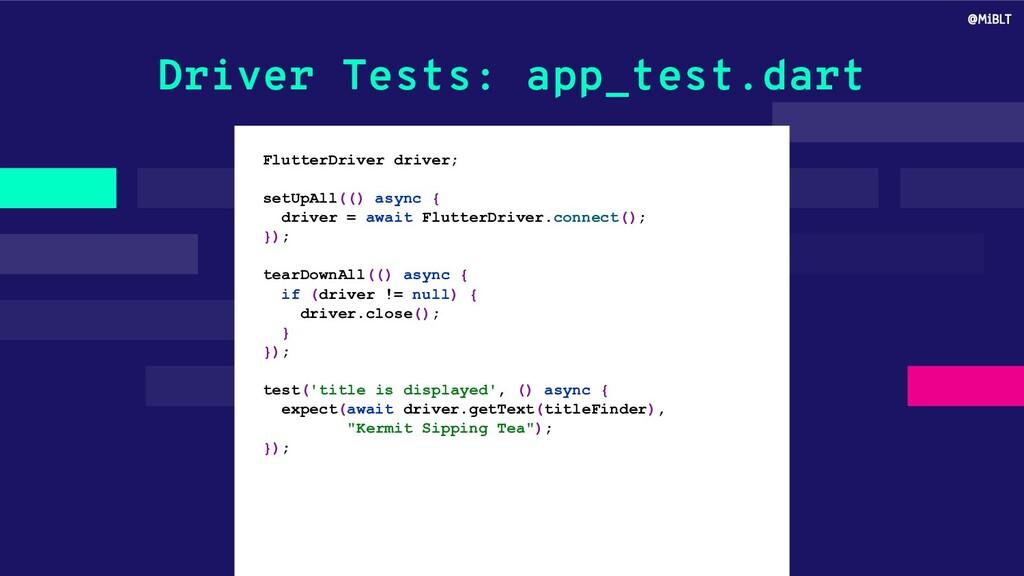 Driver Tests: app_test.dart FlutterDriver drive...