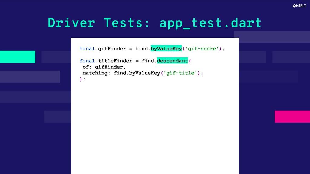 Driver Tests: app_test.dart final gifFinder = f...