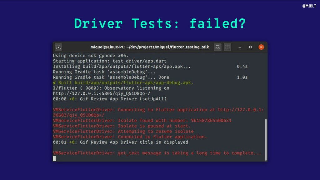 Driver Tests: failed? @MiBLT