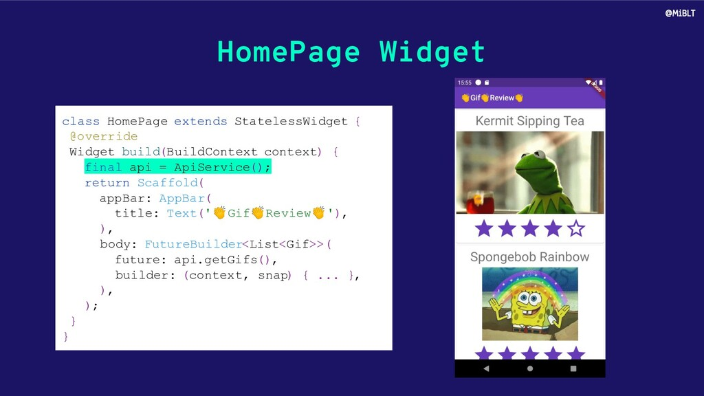 HomePage Widget class HomePage extends Stateles...