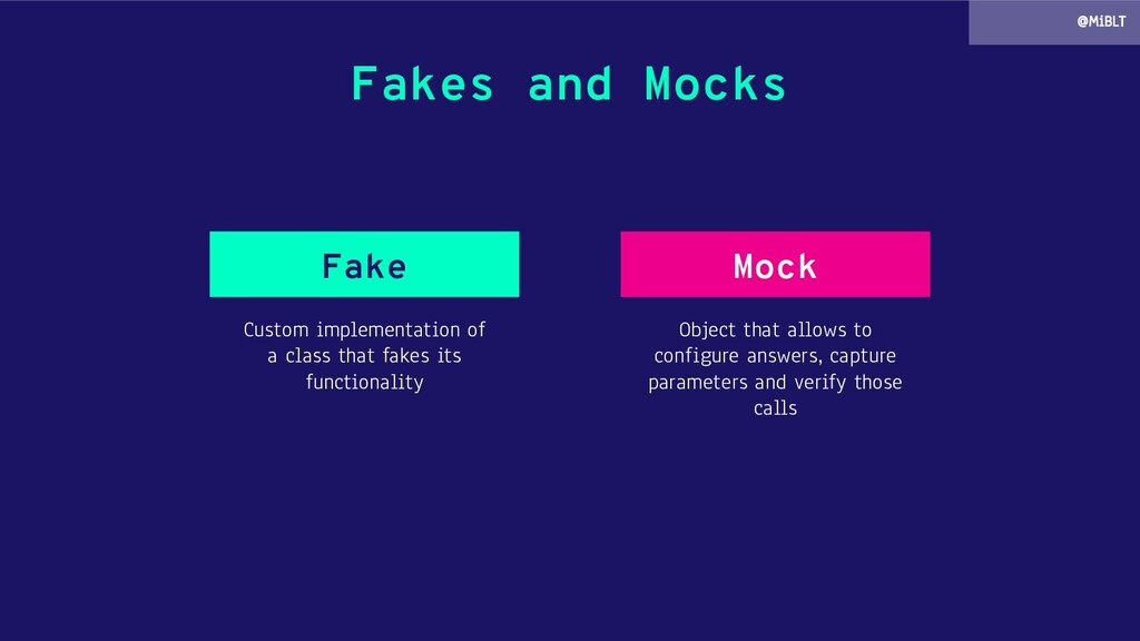 Fakes and Mocks Custom implementation of a clas...