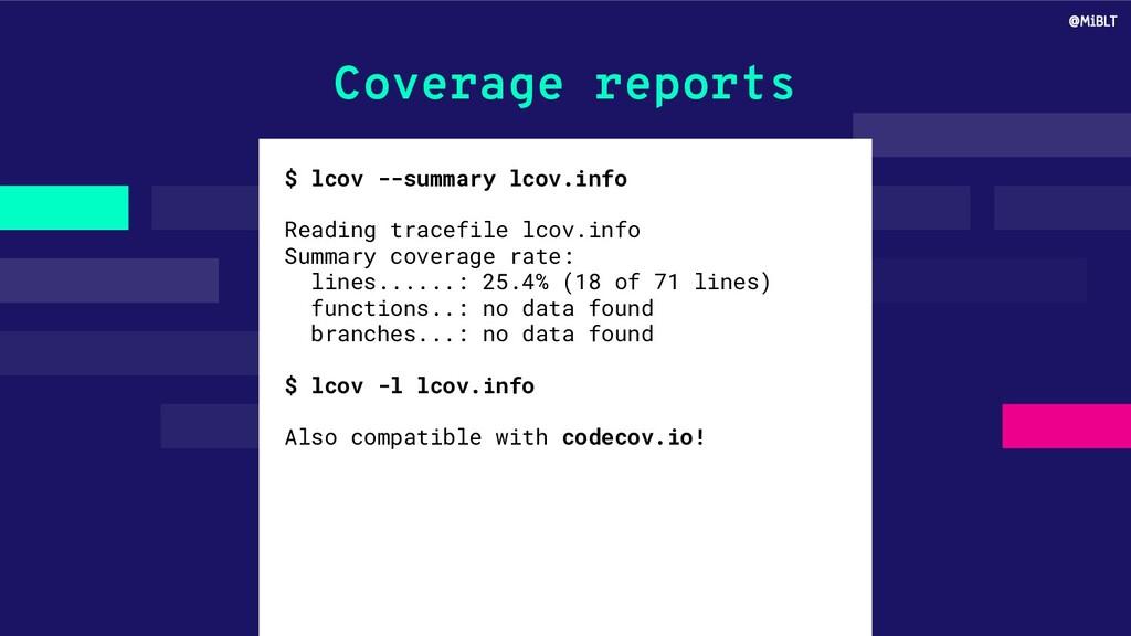 Coverage reports $ lcov --summary lcov.info Rea...
