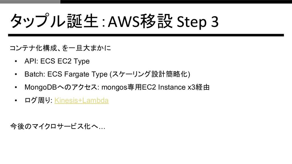 タップル誕生: 移設 コンテナ化構成、を一旦大まかに • API: ECS EC2 Type ...