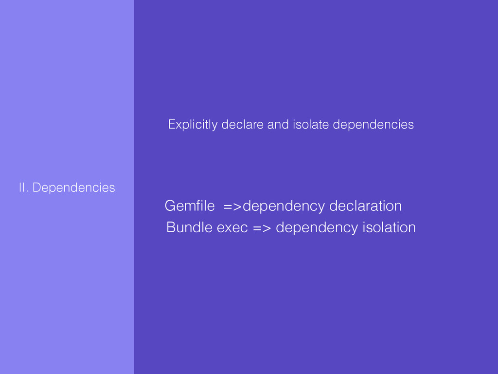 Explicitly declare and isolate dependencies II....
