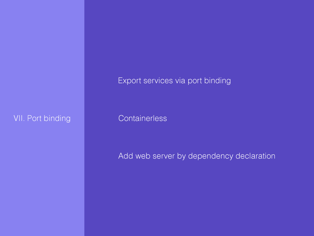 VII. Port binding Export services via port bind...
