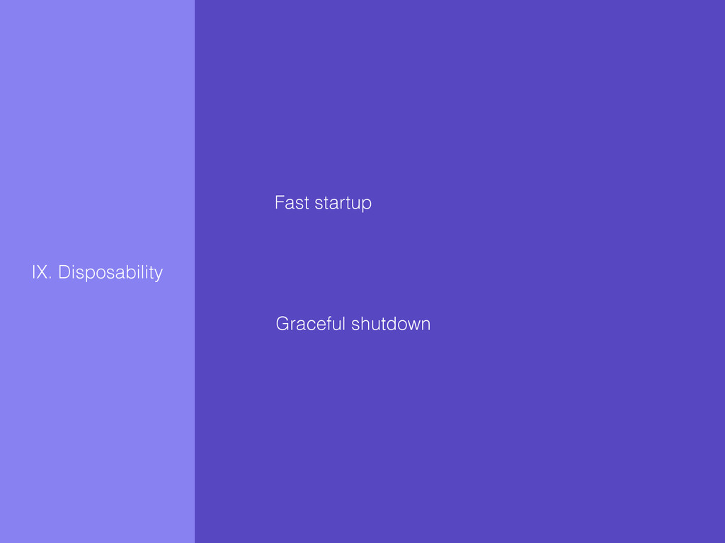 IX. Disposability Fast startup Graceful shutdown