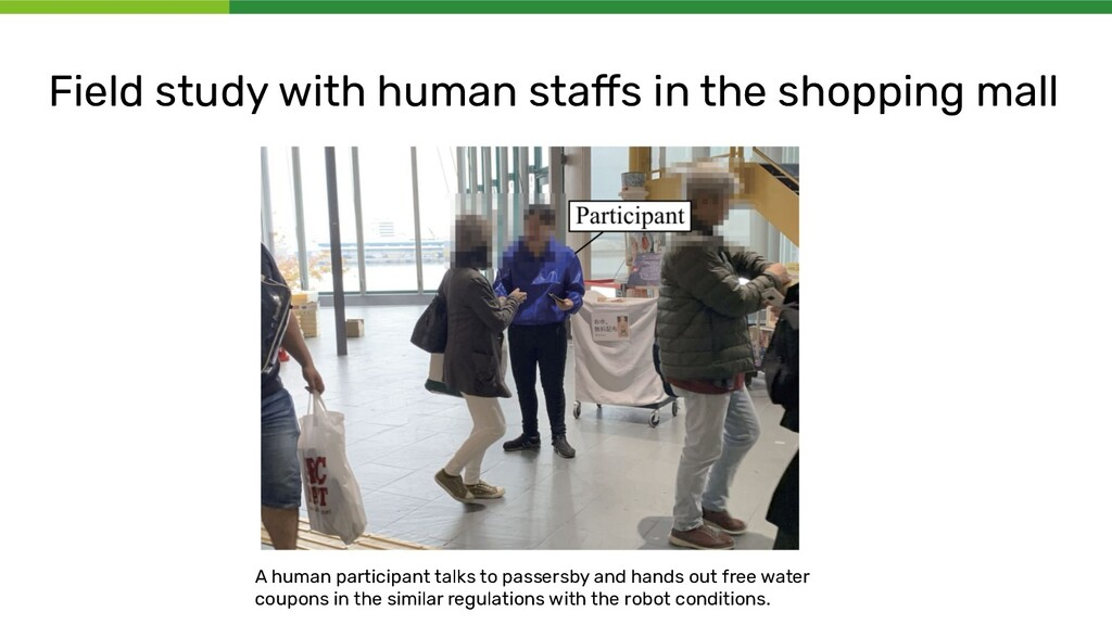 Field study with human staffs in the shopping ma...