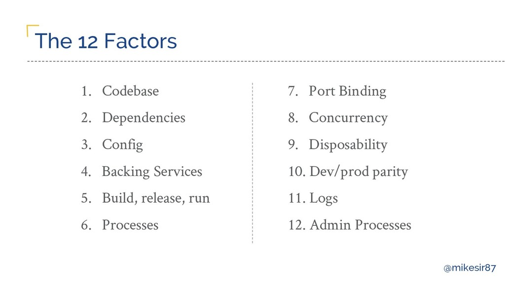@mikesir87 The 12 Factors 1. Codebase 2. Depend...