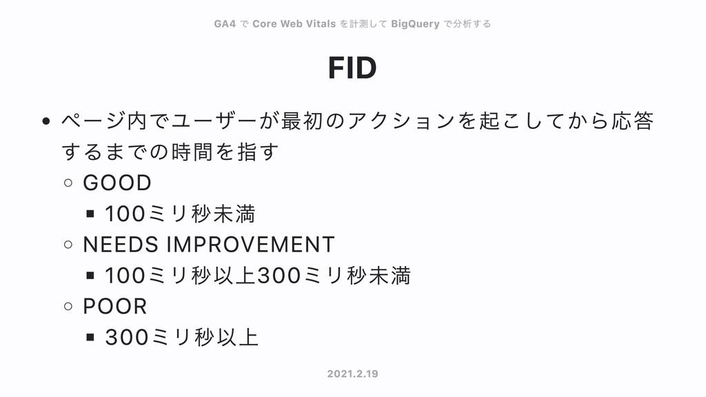 FID ページ内でユーザーが最初のアクションを起こしてから応答 するまでの時間を指す GOOD...
