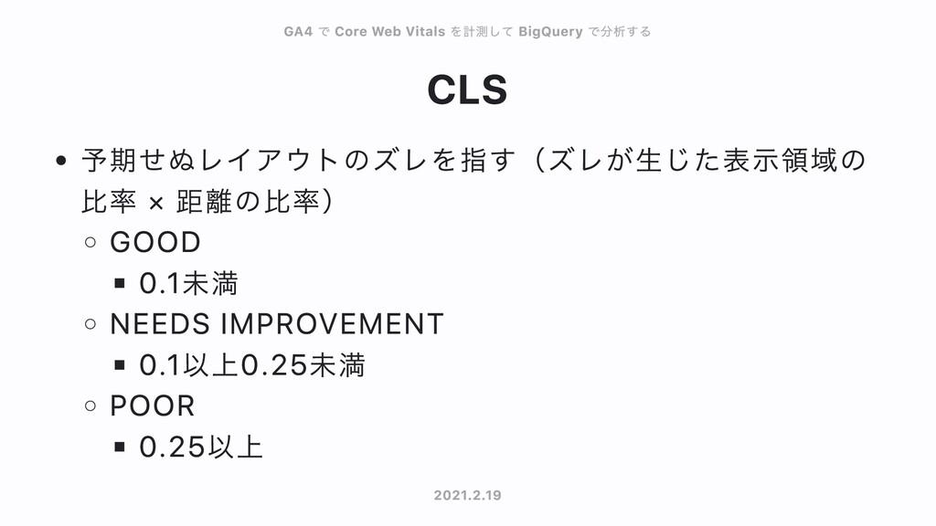 CLS 予期せぬレイアウトのズレを指す(ズレが⽣じた表⽰領域の ⽐率 × 距離の⽐率) GOO...