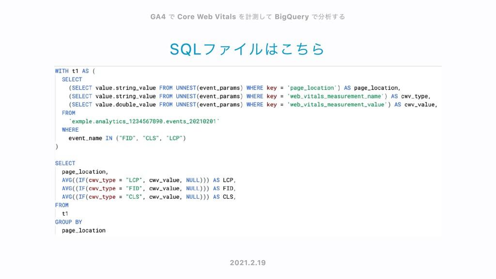 SQLファイルはこちら GA4 GA4 で で Core Web Vitals Core We...