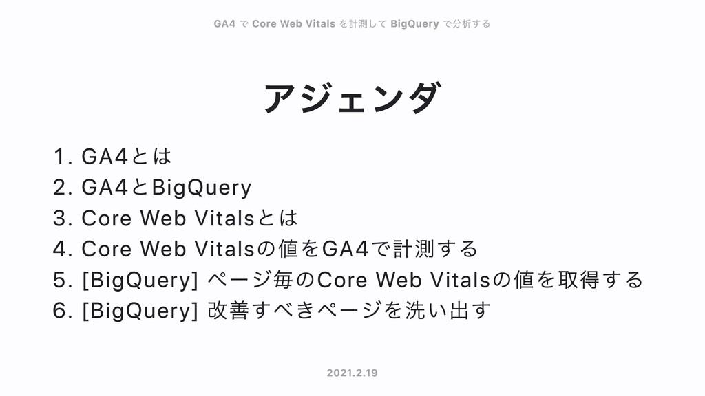 アジェンダ . GA4とは . GA4とBigQuery . Core Web Vitalsと...
