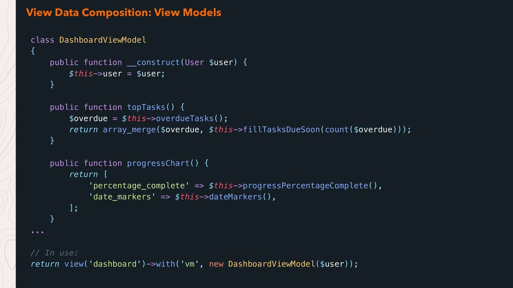 View Data Composition: View Models class Dashbo...