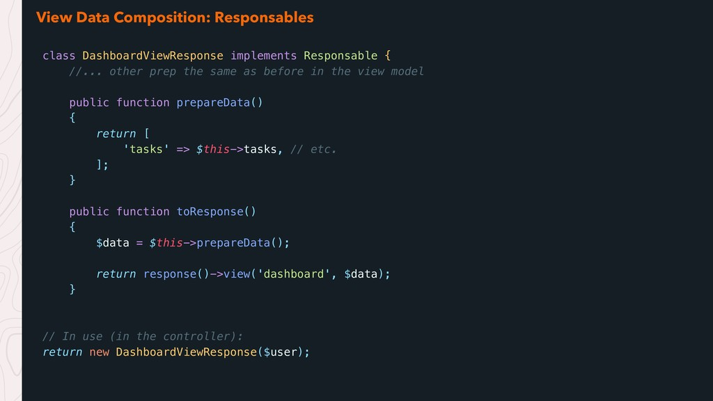 View Data Composition: Responsables class Dashb...