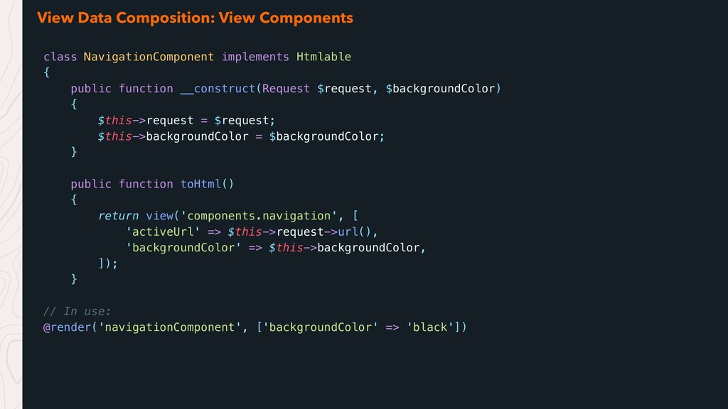 View Data Composition: View Components class Na...