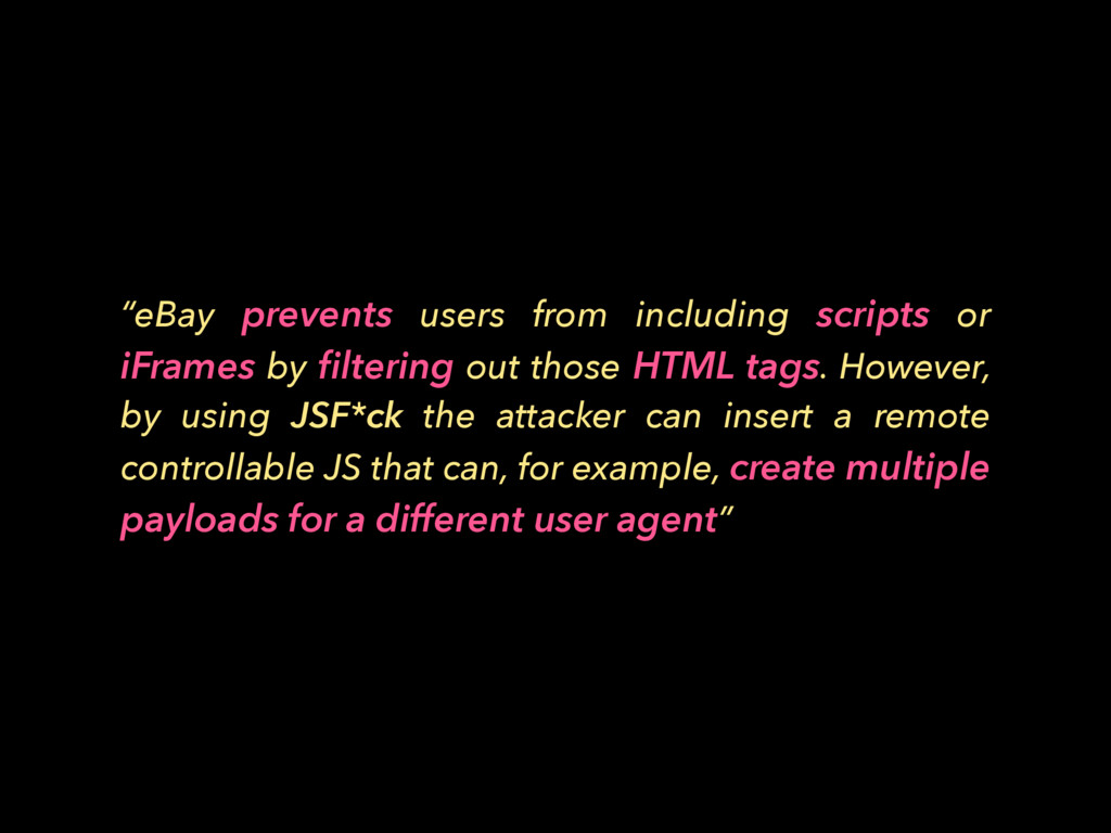 """""""eBay prevents users from including scripts or ..."""