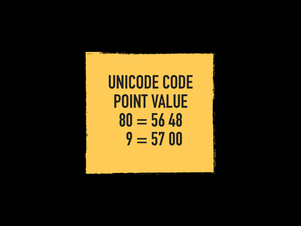 UNICODE CODE POINT VALUE 80 = 56 48 9 = 57 00