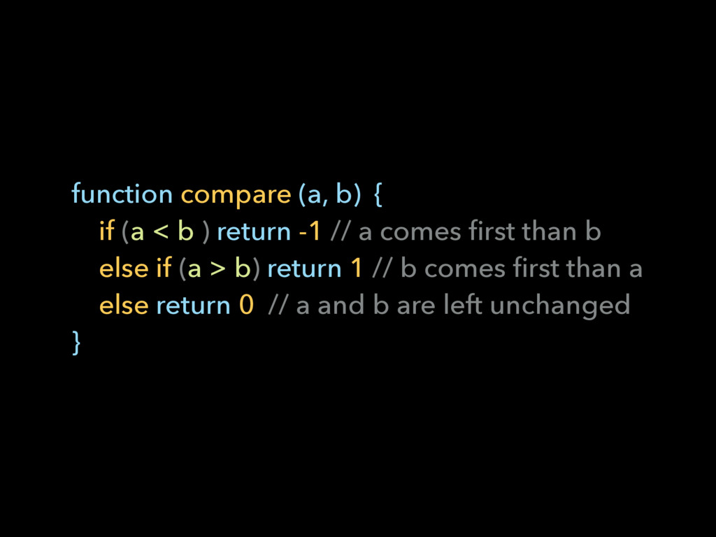 function compare (a, b) { if (a < b ) return -...