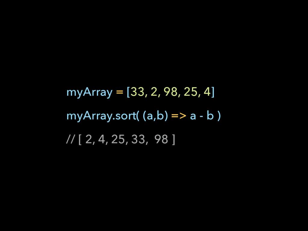 myArray = [33, 2, 98, 25, 4] myArray.sort( (a,b...