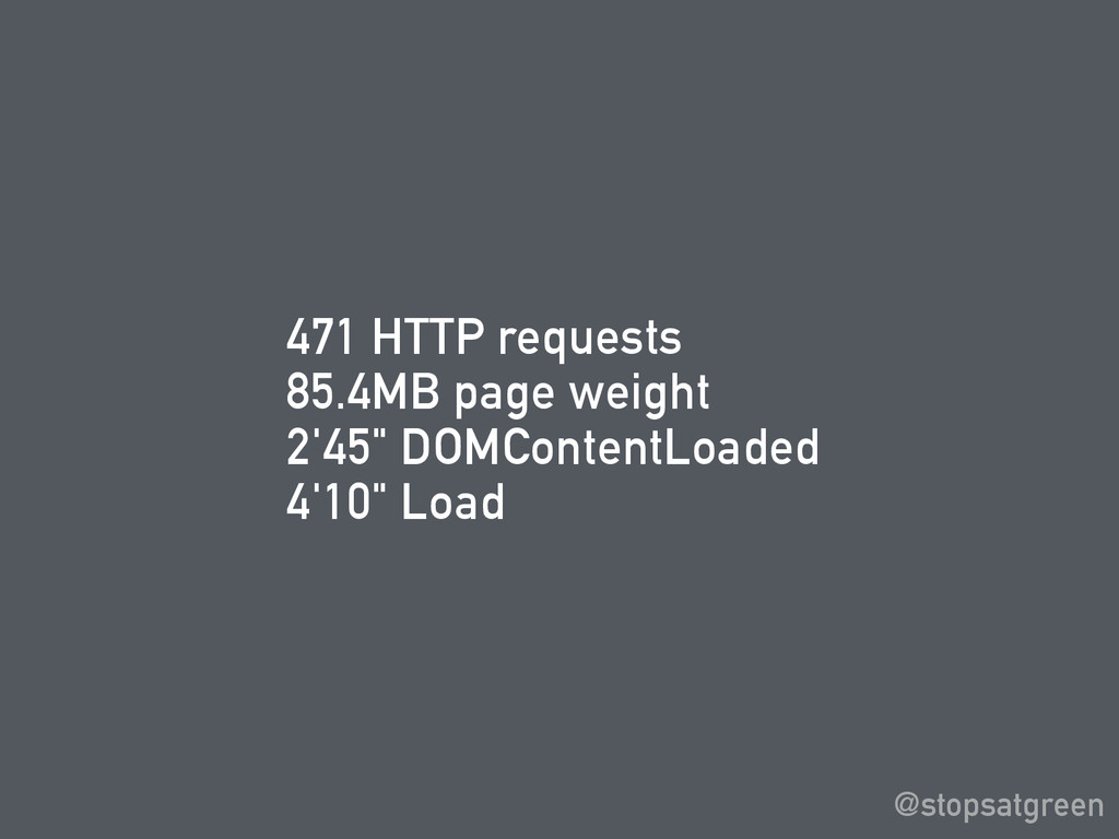 "471 HTTP requests 85.4MB page weight 2'45"" DOMC..."