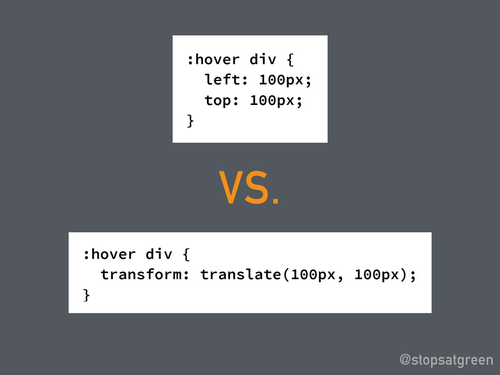 :hover div { left: 100px; top: 100px; } @stopsa...