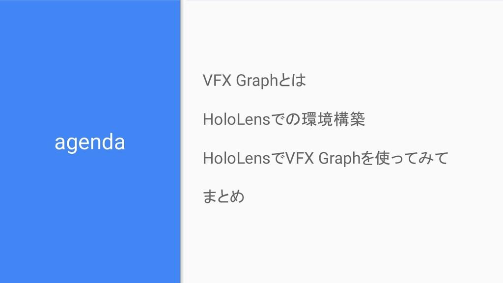 agenda VFX Graphとは HoloLensでの環境構築 HoloLensでVFX ...
