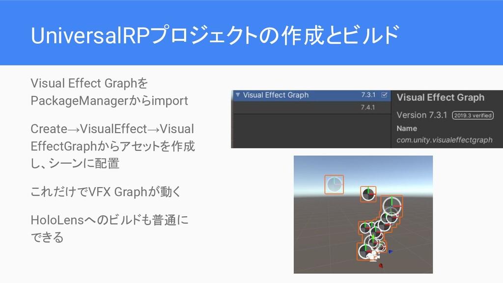 UniversalRPプロジェクトの作成とビルド Visual Effect Graphを P...