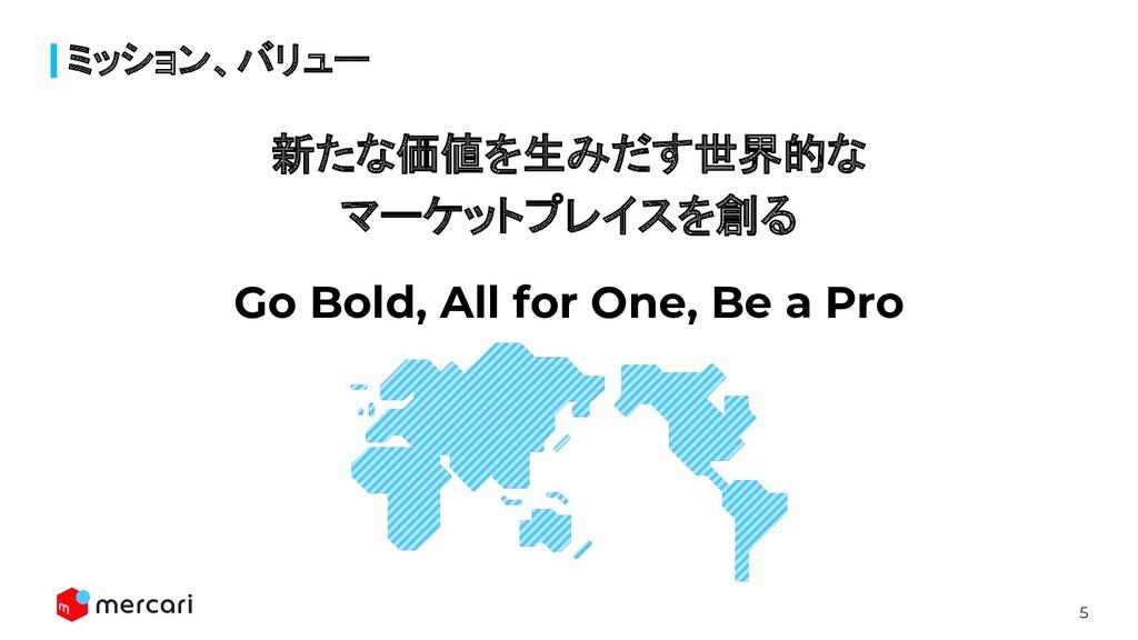 5 ミッション、バリュー 新たな価値を生みだす世界的な マーケットプレイスを創る Go Bol...