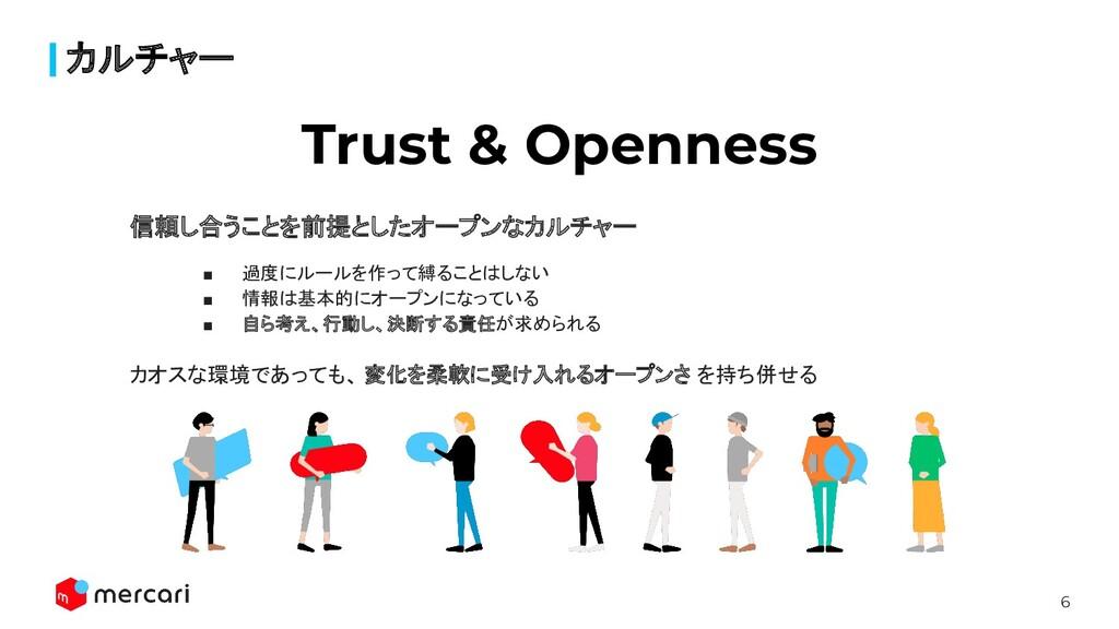 6 カルチャー Trust & Openness 信頼し合うことを前提としたオープンなカルチャ...