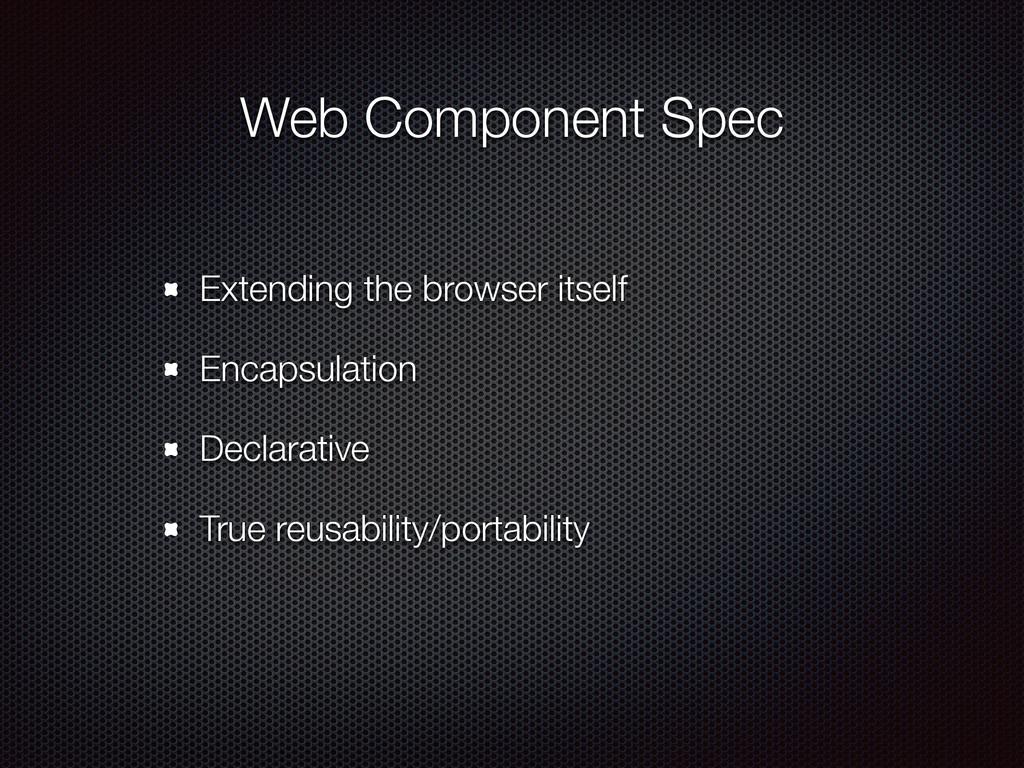 Web Component Spec Extending the browser itself...