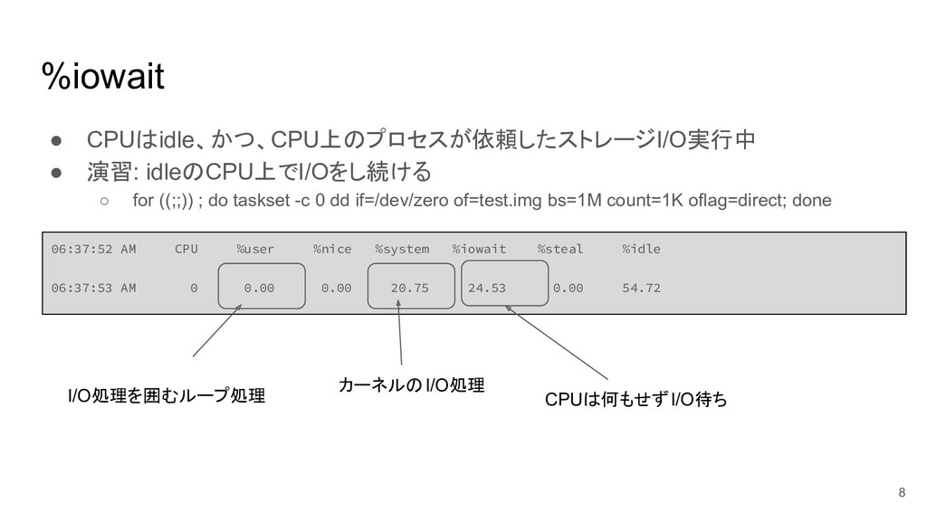 %iowait ● CPUはidle、かつ、CPU上のプロセスが依頼したストレージI/O実行中...