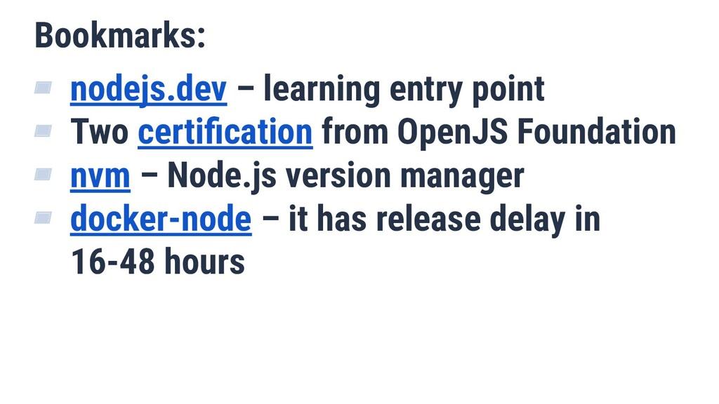 Bookmarks: ▰ nodejs.dev – learning entry point ...