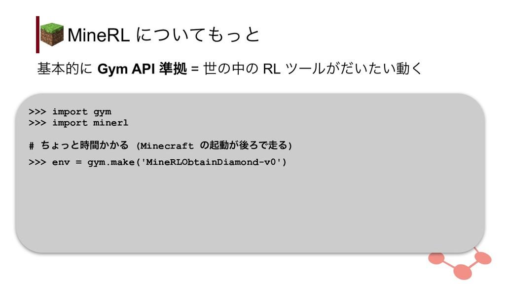 MineRL ʹ͍ͭͯͬͱ >>> import gym >>> import minerl...