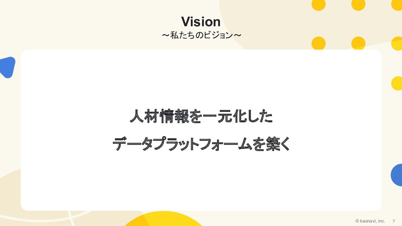 VISION 人材情報を一元化した データプラットフォームを築く 人の個性、才能にまつわるデー...