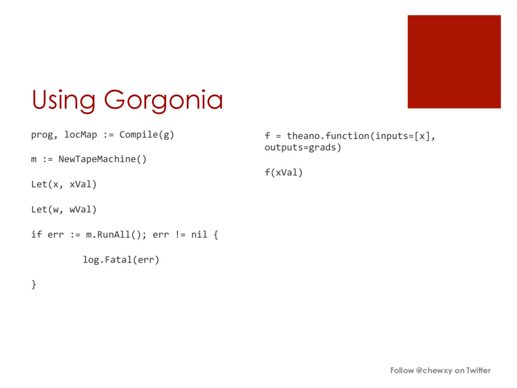 Using Gorgonia prog, locMap := Compile...