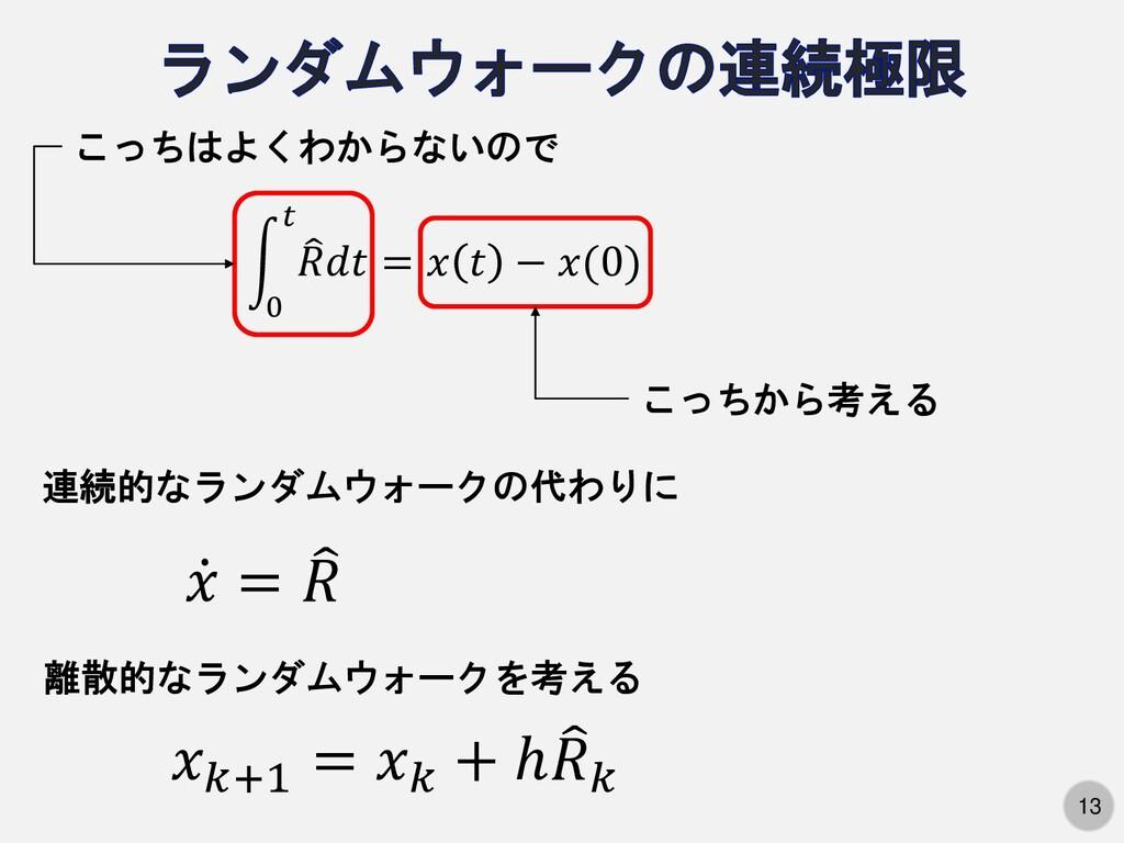 13 න 0 𝑡  𝑅𝑑𝑡 = 𝑥 𝑡 − 𝑥(0) こっちはよくわからないので こっちから...